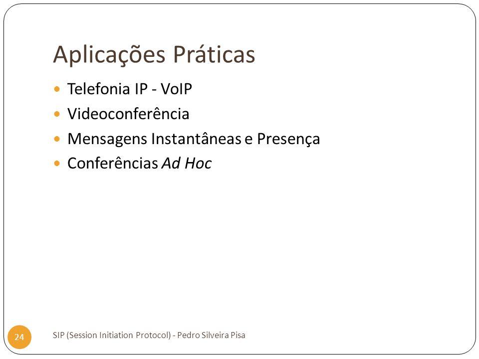 Aplicações Práticas SIP (Session Initiation Protocol) - Pedro Silveira Pisa 24 Telefonia IP - VoIP Videoconferência Mensagens Instantâneas e Presença