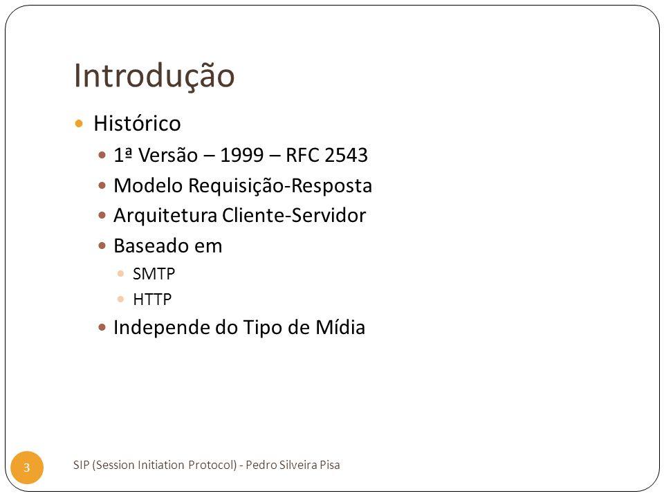 Introdução SIP (Session Initiation Protocol) - Pedro Silveira Pisa 3 Histórico 1ª Versão – 1999 – RFC 2543 Modelo Requisição-Resposta Arquitetura Clie