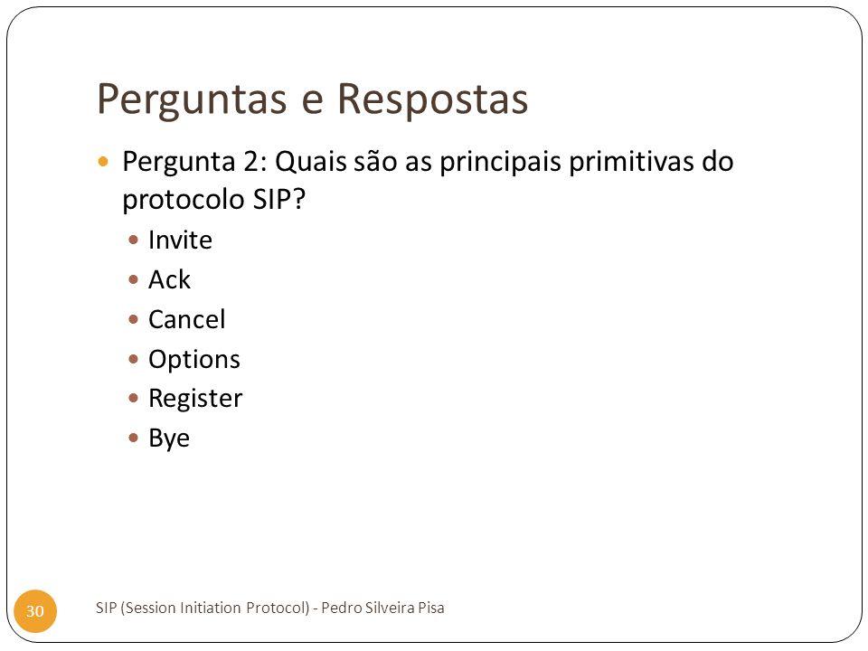 Perguntas e Respostas SIP (Session Initiation Protocol) - Pedro Silveira Pisa 30 Pergunta 2: Quais são as principais primitivas do protocolo SIP? Invi