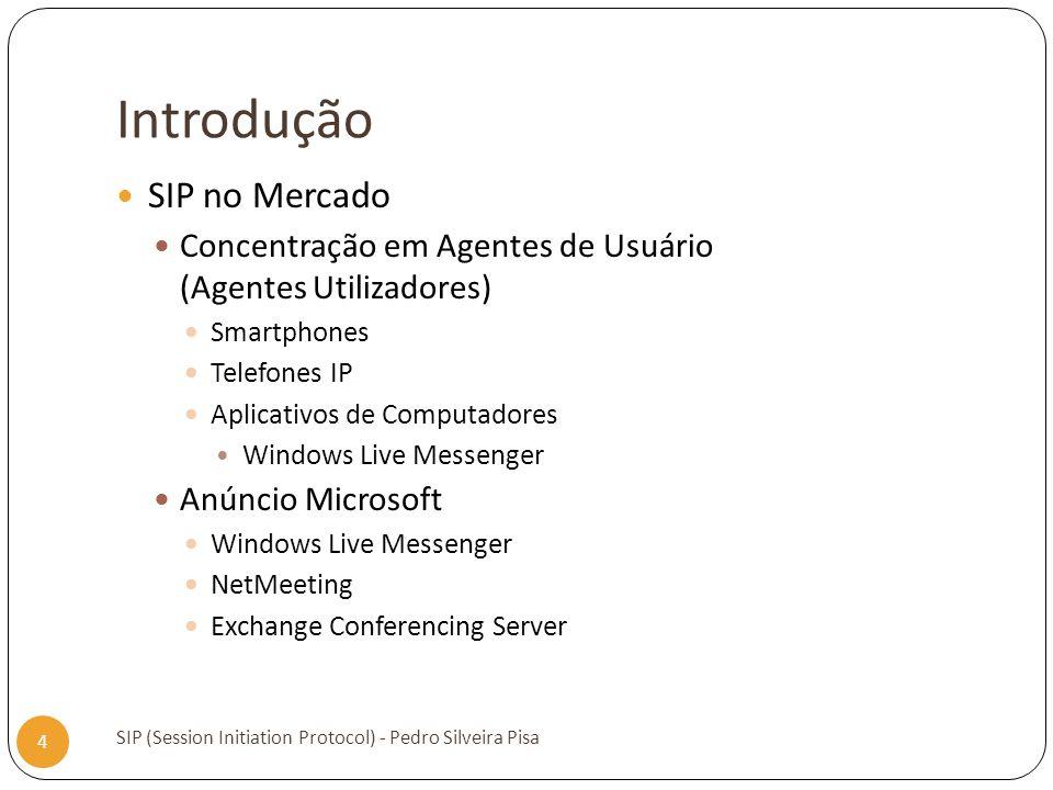 Introdução SIP (Session Initiation Protocol) - Pedro Silveira Pisa 4 SIP no Mercado Concentração em Agentes de Usuário (Agentes Utilizadores) Smartpho