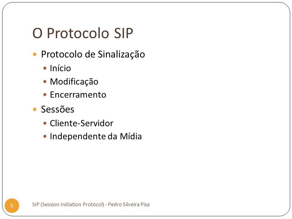 O Protocolo SIP SIP (Session Initiation Protocol) - Pedro Silveira Pisa 5 Protocolo de Sinalização Início Modificação Encerramento Sessões Cliente-Ser