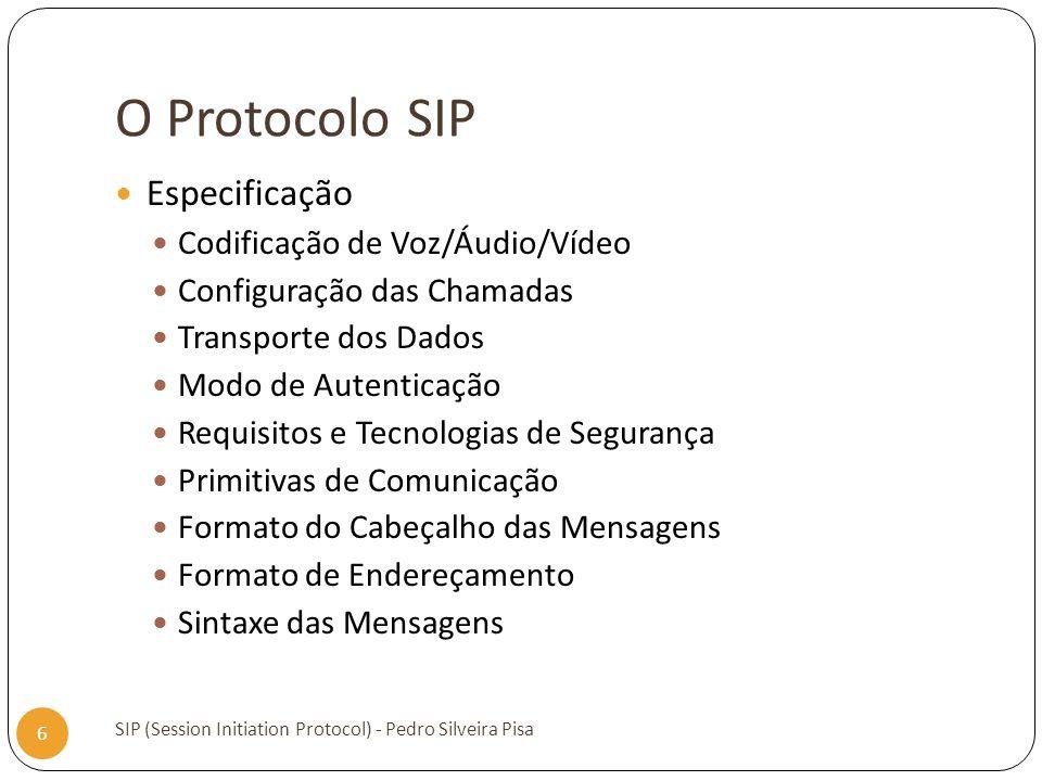 O Protocolo SIP SIP (Session Initiation Protocol) - Pedro Silveira Pisa 6 Especificação Codificação de Voz/Áudio/Vídeo Configuração das Chamadas Trans