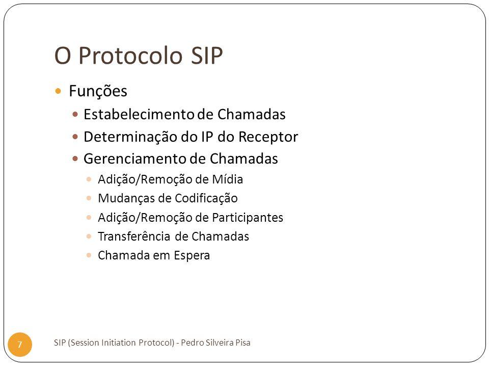 O Protocolo SIP SIP (Session Initiation Protocol) - Pedro Silveira Pisa 7 Funções Estabelecimento de Chamadas Determinação do IP do Receptor Gerenciam