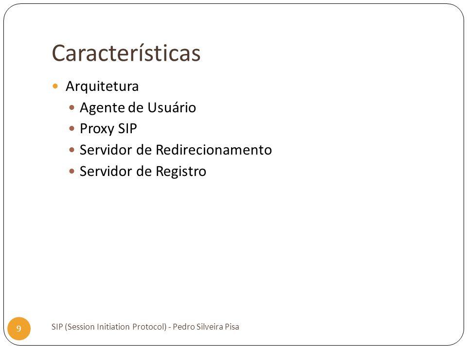 Características SIP (Session Initiation Protocol) - Pedro Silveira Pisa 9 Arquitetura Agente de Usuário Proxy SIP Servidor de Redirecionamento Servido