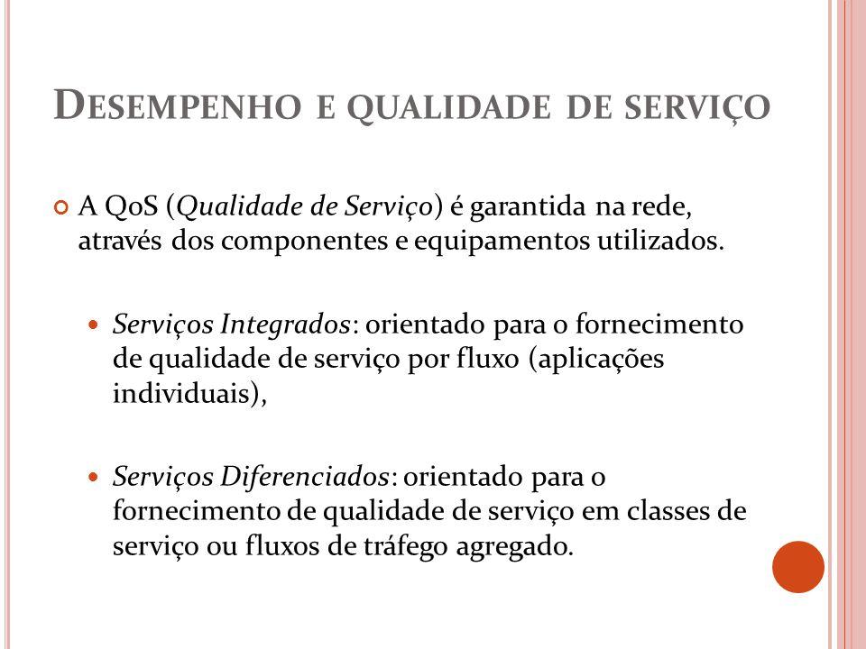 D ESEMPENHO E QUALIDADE DE SERVIÇO A QoS (Qualidade de Serviço) é garantida na rede, através dos componentes e equipamentos utilizados. Serviços Integ