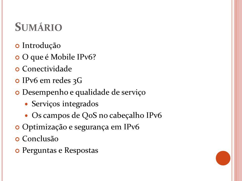 S UMÁRIO Introdução O que é Mobile IPv6? Conectividade IPv6 em redes 3G Desempenho e qualidade de serviço Serviços integrados Os campos de QoS no cabe