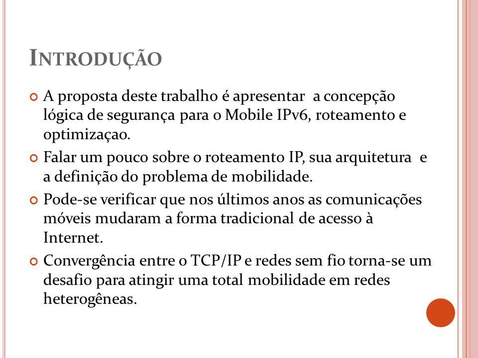 I NTRODUÇÃO A proposta deste trabalho é apresentar a concepção lógica de segurança para o Mobile IPv6, roteamento e optimizaçao. Falar um pouco sobre