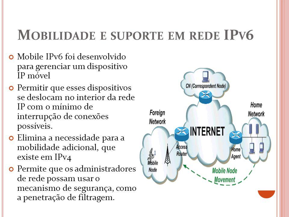 M OBILIDADE E SUPORTE EM REDE IP V 6 Mobile IPv6 foi desenvolvido para gerenciar um dispositivo IP móvel Permitir que esses dispositivos se deslocam n