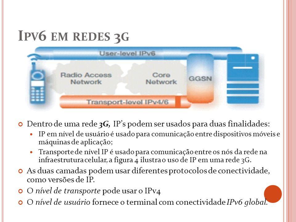 I PV 6 EM REDES 3 G Dentro de uma rede 3G, IPs podem ser usados para duas finalidades: IP em nível de usuário é usado para comunicação entre dispositi