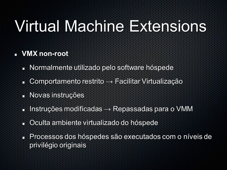 Virtual Machine Extensions VMX non-root Normalmente utilizado pelo software hóspede Comportamento restrito Facilitar Virtualização Novas instruções In