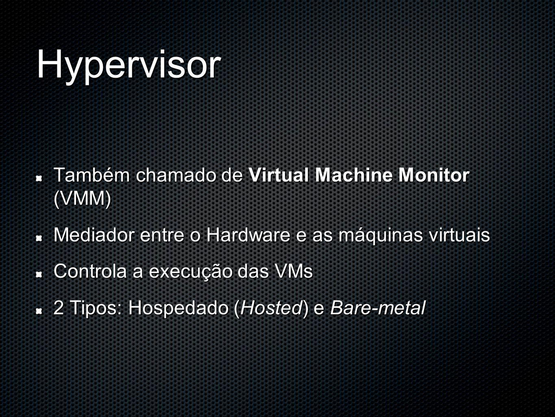 Hypervisor Também chamado de Virtual Machine Monitor (VMM) Mediador entre o Hardware e as máquinas virtuais Controla a execução das VMs 2 Tipos: Hospe