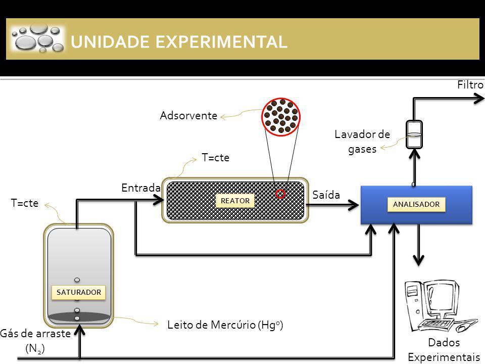 UNIDADE EXPERIMENTAL Entrada Saída REATOR Gás de arraste (N 2 ) Leito de Mercúrio (Hg 0 ) Adsorvente ANALISADOR Filtro Dados Experimentais T=cte SATURADOR Lavador de gases