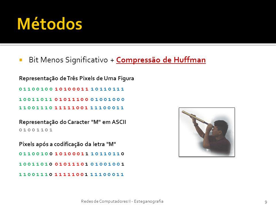 Bit Menos Significativo + Compressão de Huffman Representação de Três Pixels de Uma Figura 0 1 1 0 0 1 0 0 1 0 1 0 0 0 1 1 1 0 1 1 0 1 1 1 1 0 0 1 1 0 1 1 0 1 0 1 1 1 0 0 0 1 0 0 1 0 0 0 1 1 0 0 1 1 1 0 1 1 1 1 1 0 0 1 1 1 1 0 0 0 1 1 Representação do Caracter M em ASCII 0 1 0 0 1 1 0 1 Pixels após a codificação da letra M 0 1 1 0 0 1 0 0 1 0 1 0 0 0 1 1 1 0 1 1 0 1 1 0 1 0 0 1 1 0 1 0 0 1 0 1 1 1 0 1 0 1 0 0 1 0 0 1 1 1 0 0 1 1 1 0 1 1 1 1 1 0 0 1 1 1 1 0 0 0 1 1 Redes de Computadores II - Esteganografia9