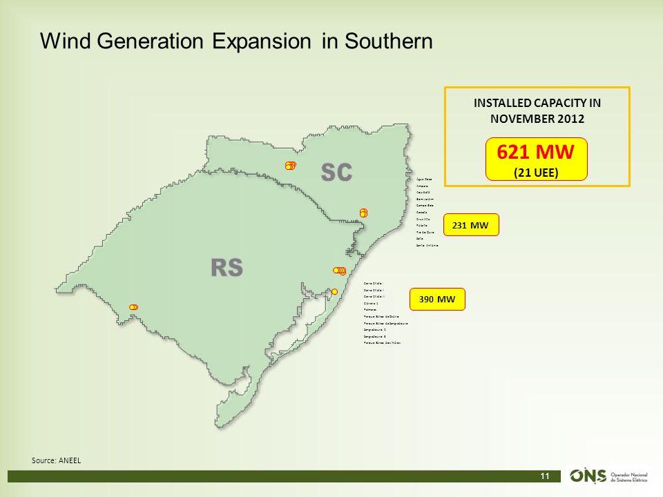 11 Wind Generation Expansion in Southern Source: ANEEL Cerro Chato I Cerro Chato II Cerro Chato III Cidreira 1 Palmares Parque Eólico de Osório Parque