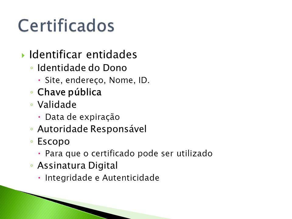 Identificar entidades Identidade do Dono Site, endereço, Nome, ID. Chave pública Validade Data de expiração Autoridade Responsável Escopo Para que o c