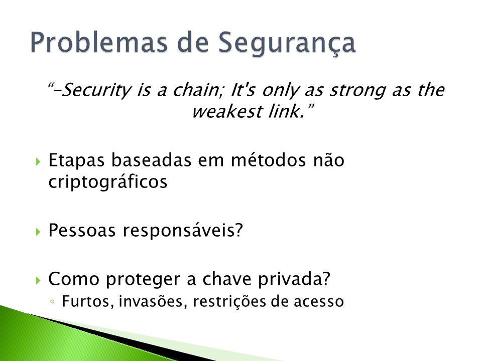 -Security is a chain; It's only as strong as the weakest link. Etapas baseadas em métodos não criptográficos Pessoas responsáveis? Como proteger a cha