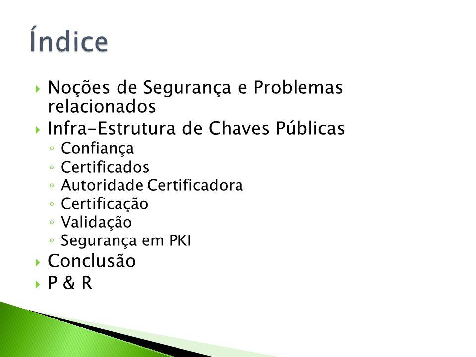 Noções de Segurança e Problemas relacionados Infra-Estrutura de Chaves Públicas Confiança Certificados Autoridade Certificadora Certificação Validação