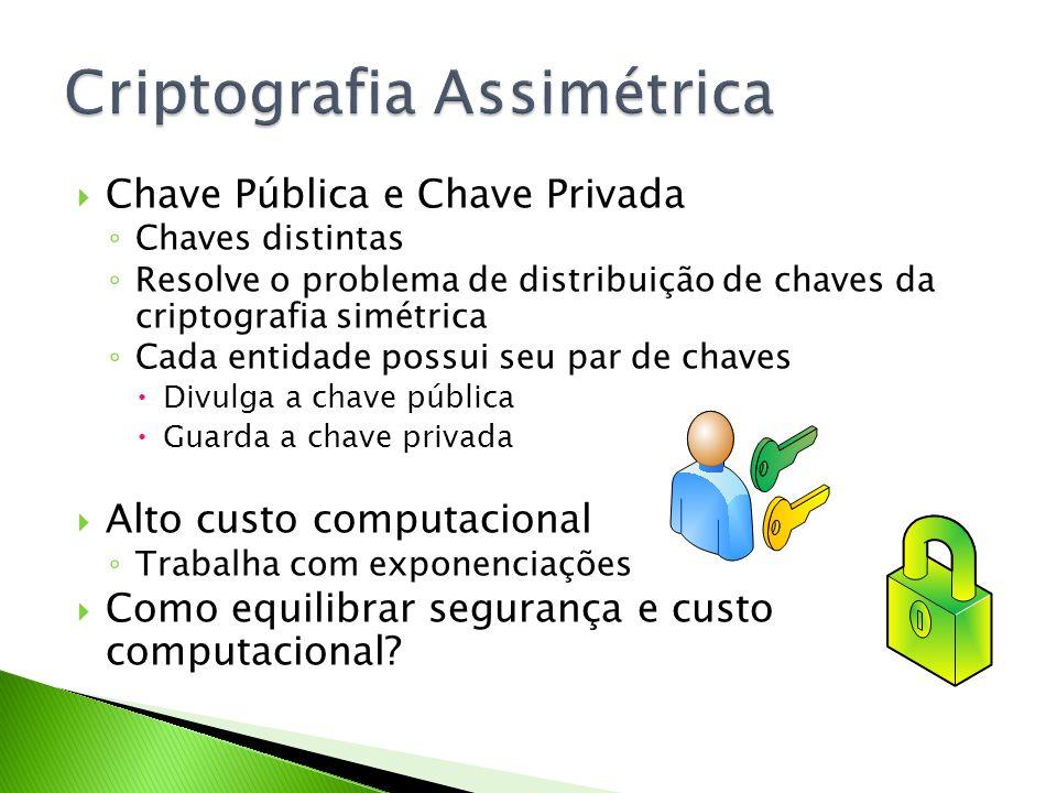 Chave Pública e Chave Privada Chaves distintas Resolve o problema de distribuição de chaves da criptografia simétrica Cada entidade possui seu par de