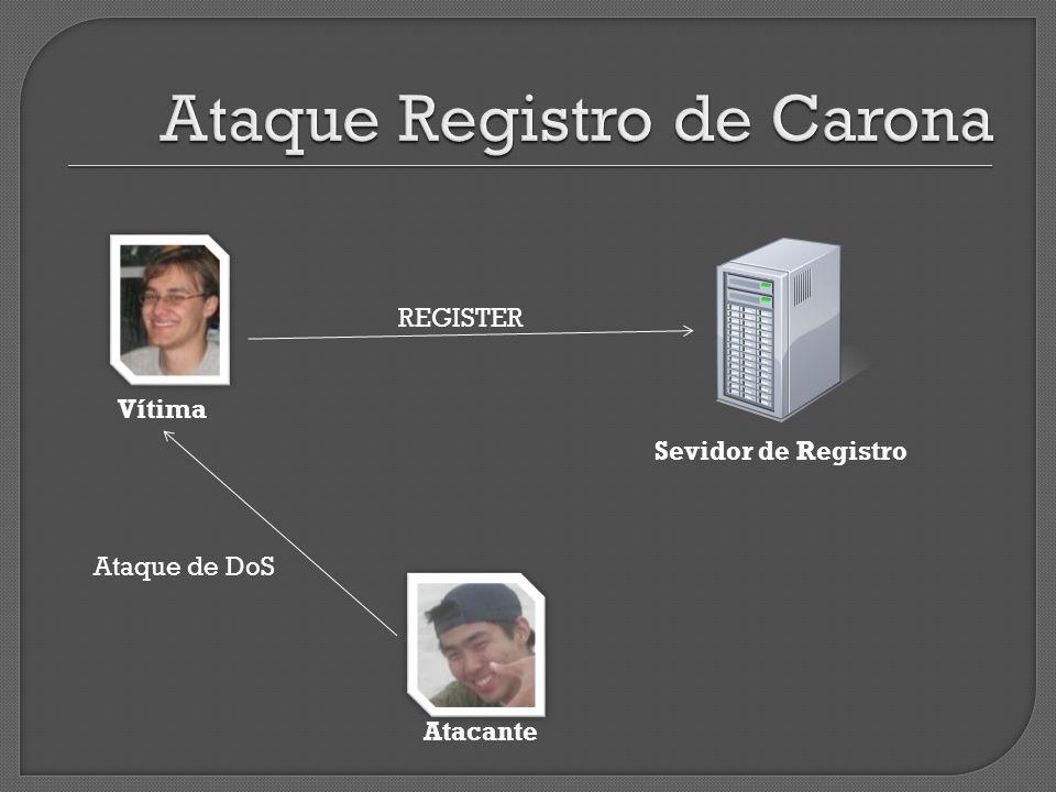 Vítima Sevidor de Registro REGISTER Atacante Ataque de DoS