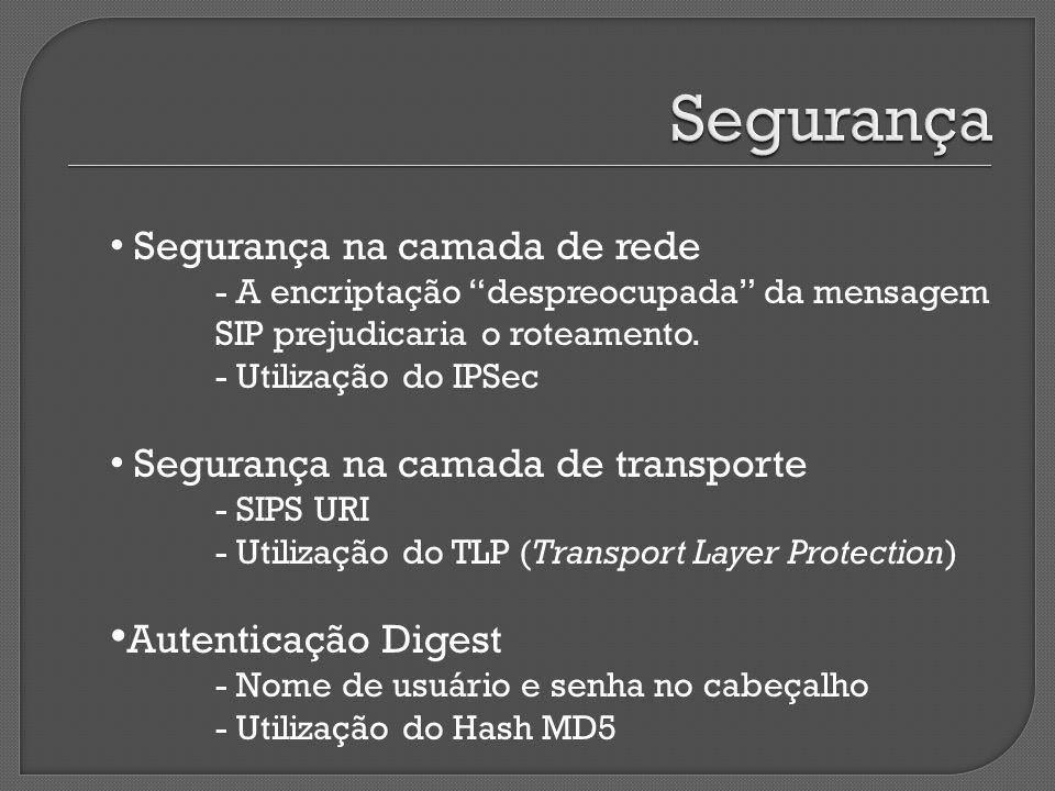 Segurança na camada de rede - A encriptação despreocupada da mensagem SIP prejudicaria o roteamento.