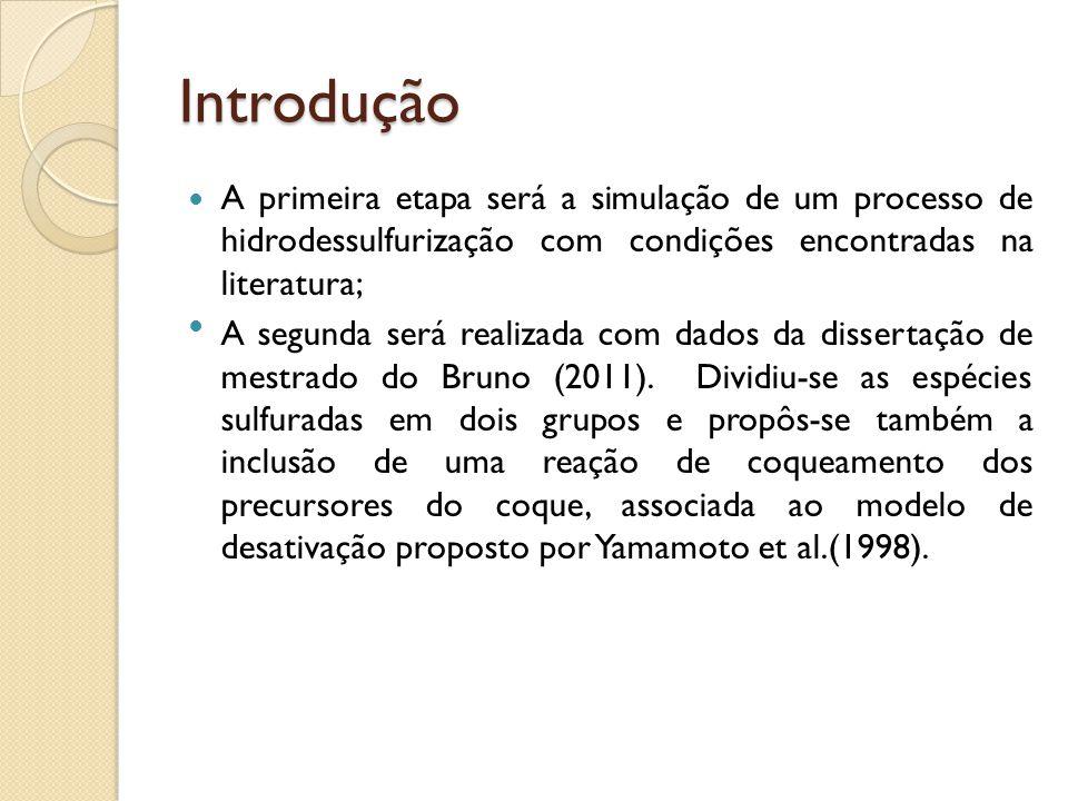 Introdução A primeira etapa será a simulação de um processo de hidrodessulfurização com condições encontradas na literatura; A segunda será realizada
