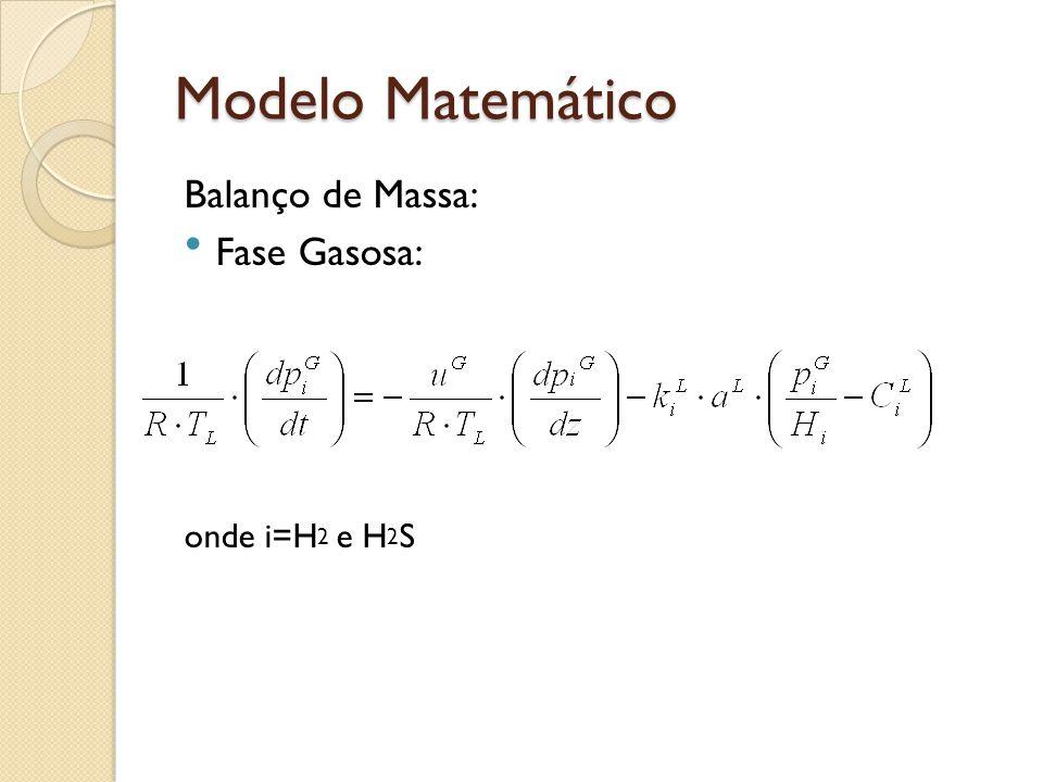 Modelo Matemático Balanço de Massa: Fase líquida 1.Compostos gasosos na fase líquida onde i=H 2 e H 2 S II.Compostos líquidos i= sulfurados alifáticos e sulfurados aromáticos, precursores do coque e hidrocarbonetos produzidos na reação de HDS