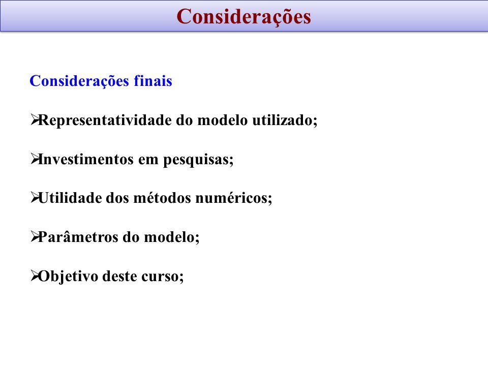 Considerações finais Representatividade do modelo utilizado; Investimentos em pesquisas; Utilidade dos métodos numéricos; Parâmetros do modelo; Objeti