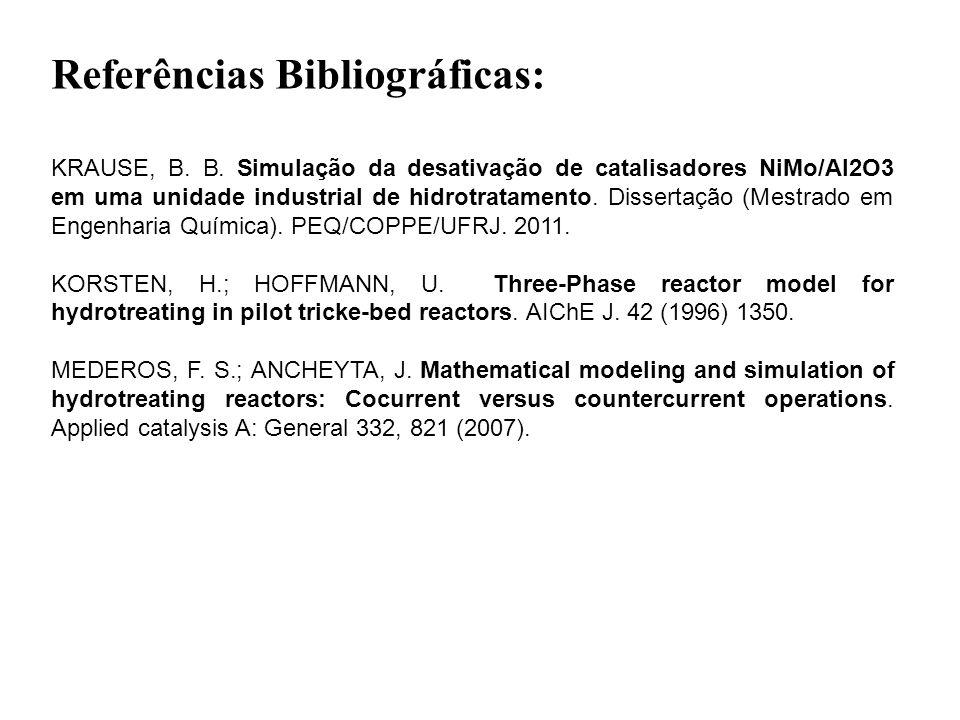 KRAUSE, B. B. Simulação da desativação de catalisadores NiMo/Al2O3 em uma unidade industrial de hidrotratamento. Dissertação (Mestrado em Engenharia Q