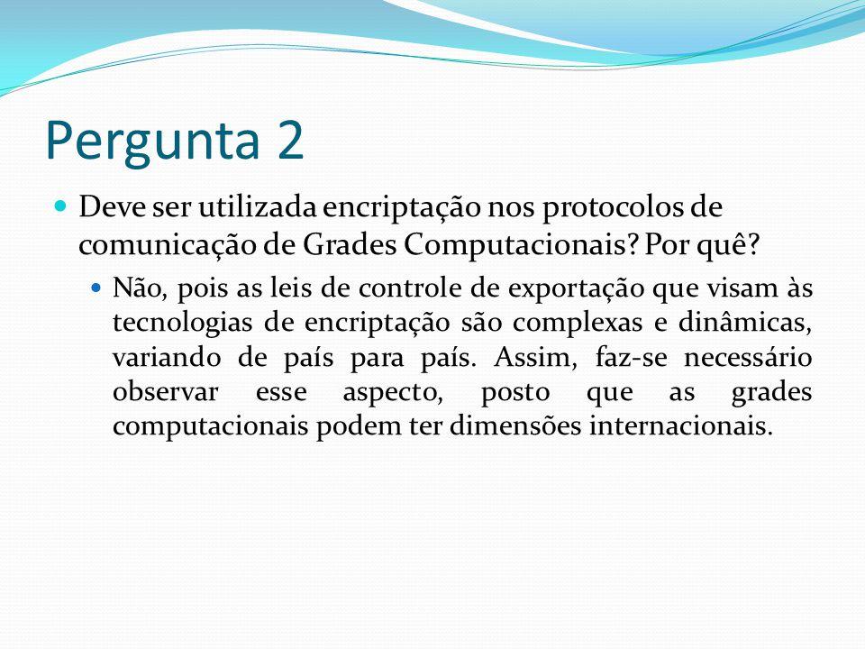 Pergunta 1 Cite e explique três requisitos de segurança necessários às Grades Computacionais.