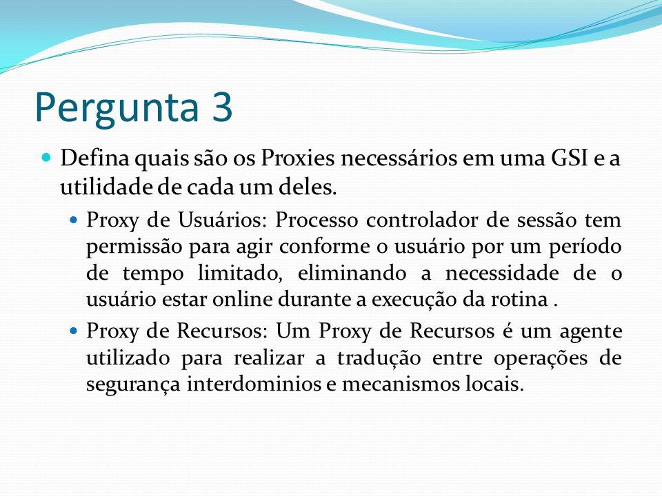 Pergunta 2 Deve ser utilizada encriptação nos protocolos de comunicação de Grades Computacionais.