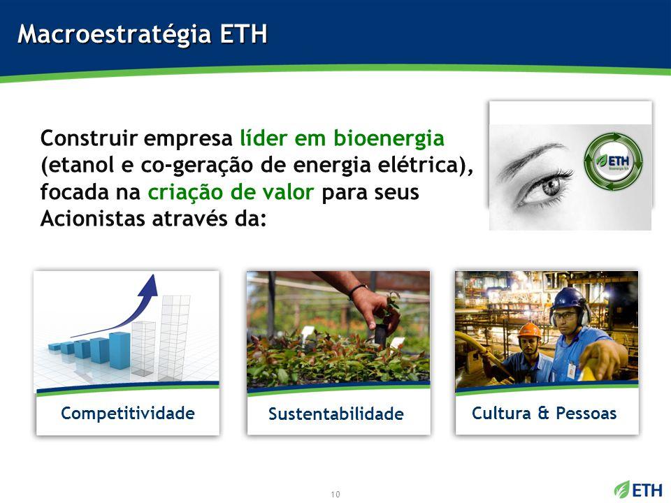 Construir empresa líder em bioenergia (etanol e co-geração de energia elétrica), focada na criação de valor para seus Acionistas através da: Macroestr