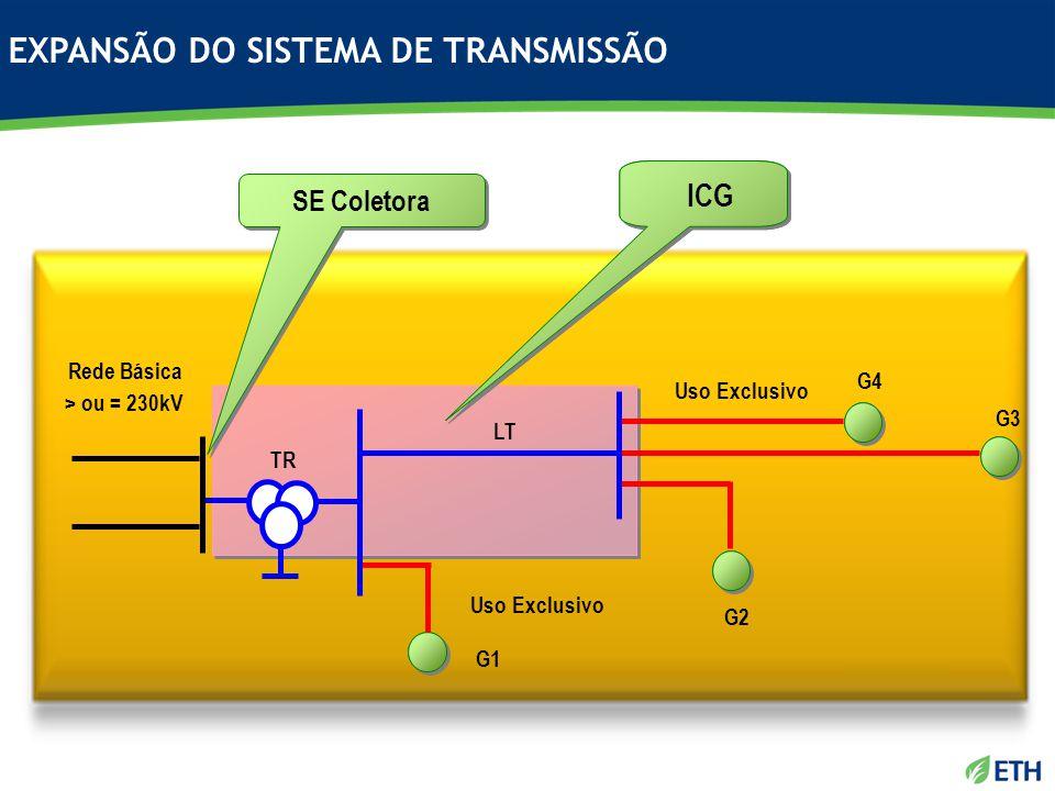 Rede Básica > ou = 230kV TR LT Uso Exclusivo G4 G3 G2 G1 SE Coletora ICG EXPANSÃO DO SISTEMA DE TRANSMISSÃO
