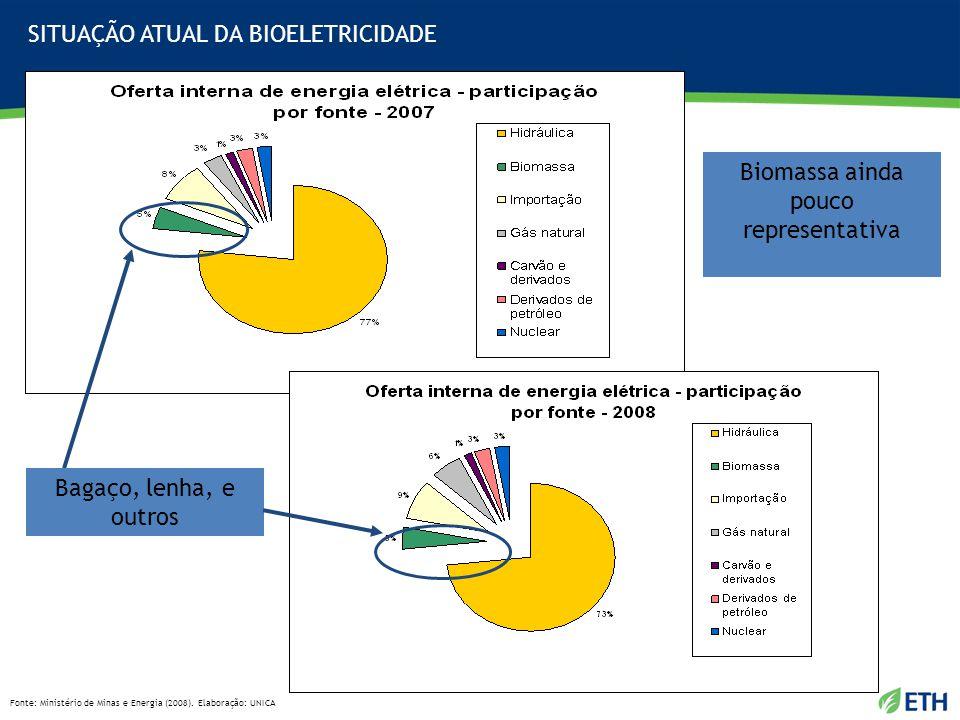 Fonte: Ministério de Minas e Energia (2008). Elaboração: UNICA Biomassa ainda pouco representativa Bagaço, lenha, e outros SITUAÇÃO ATUAL DA BIOELETRI