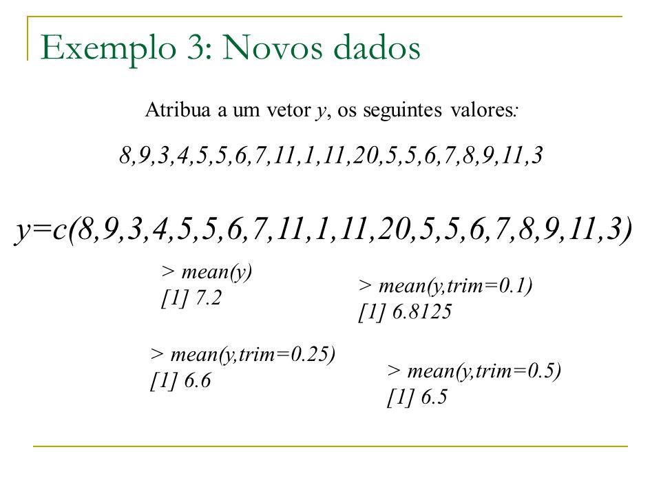 Exemplo 3: Novos dados Atribua a um vetor y, os seguintes valores: 8,9,3,4,5,5,6,7,11,1,11,20,5,5,6,7,8,9,11,3 y=c(8,9,3,4,5,5,6,7,11,1,11,20,5,5,6,7,