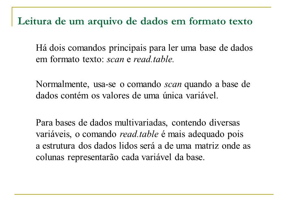 Leitura de um arquivo de dados em formato texto Há dois comandos principais para ler uma base de dados em formato texto: scan e read.table. Normalment