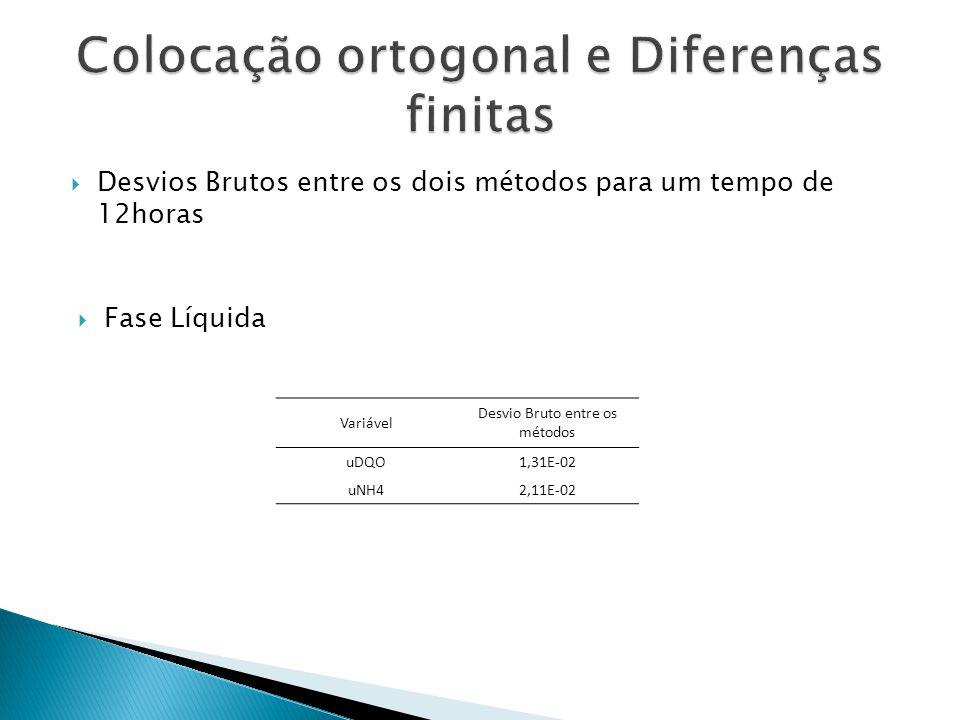 Desvios Brutos entre os dois métodos para um tempo de 12horas Variável Desvio Bruto entre os métodos uDQO1,31E-02 uNH42,11E-02 Fase Líquida