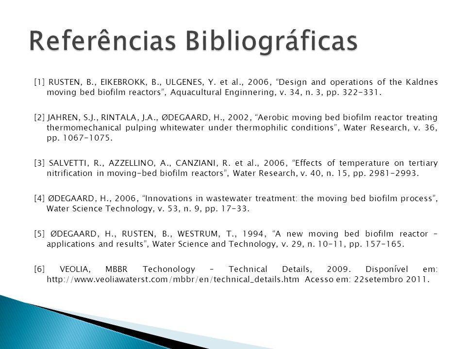 [1] RUSTEN, B., EIKEBROKK, B., ULGENES, Y. et al., 2006, Design and operations of the Kaldnes moving bed biofilm reactors, Aquacultural Enginnering, v