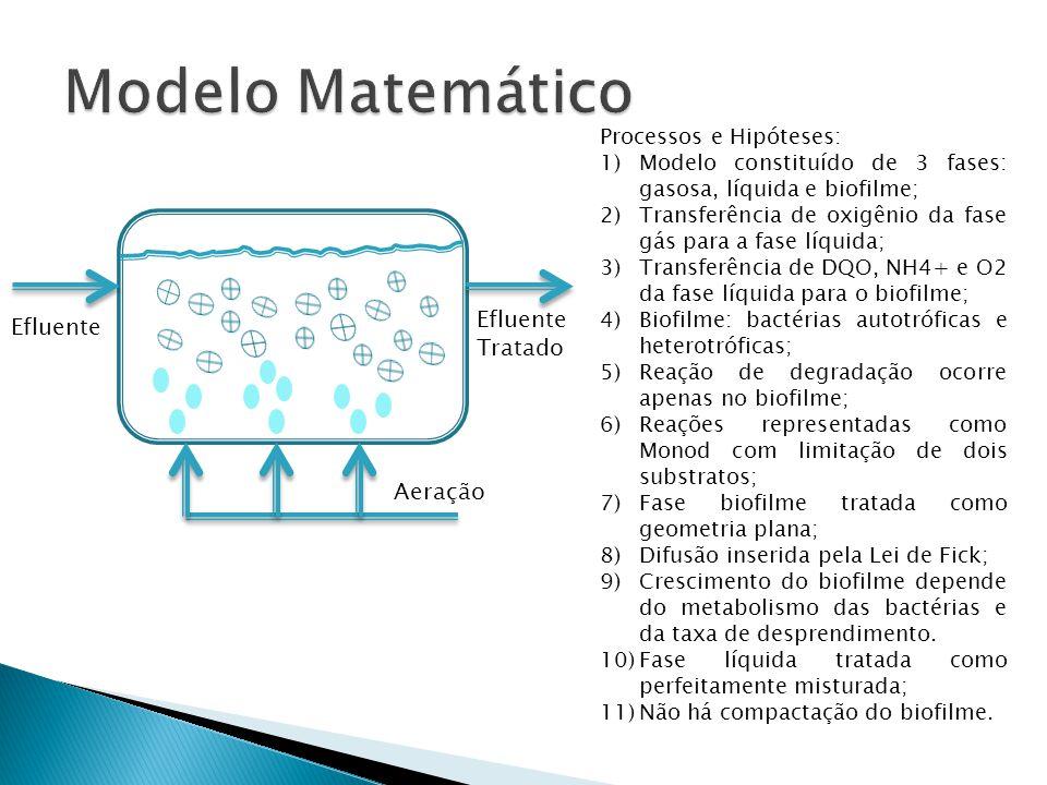 Efluente Aeração Processos e Hipóteses: 1)Modelo constituído de 3 fases: gasosa, líquida e biofilme; 2)Transferência de oxigênio da fase gás para a fa