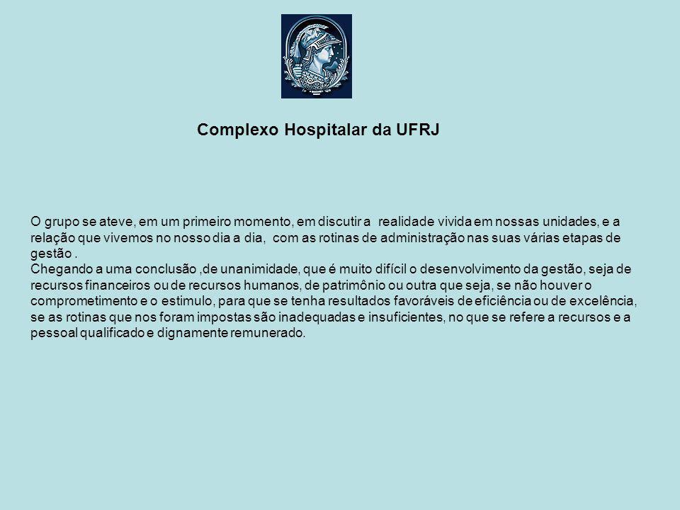 Complexo Hospitalar da UFRJ O que se espera do Complexo Hospitalar no que se refere a gestão.