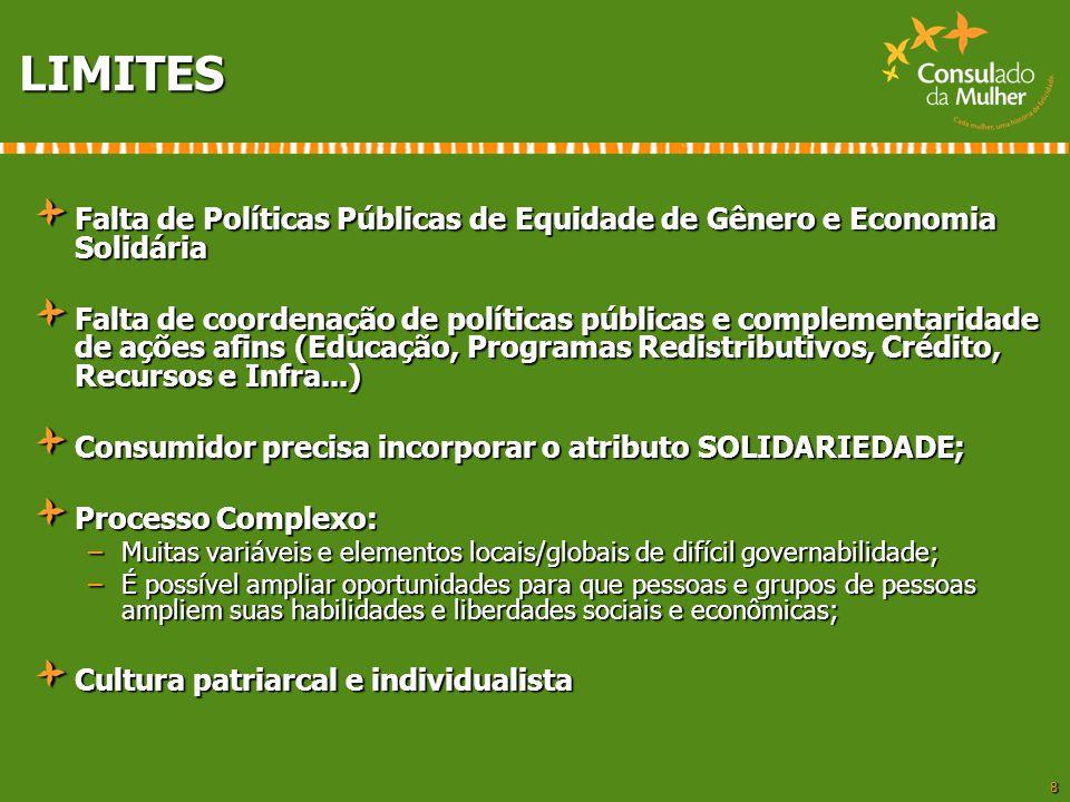 8 LIMITES Falta de Políticas Públicas de Equidade de Gênero e Economia Solidária Falta de coordenação de políticas públicas e complementaridade de açõ