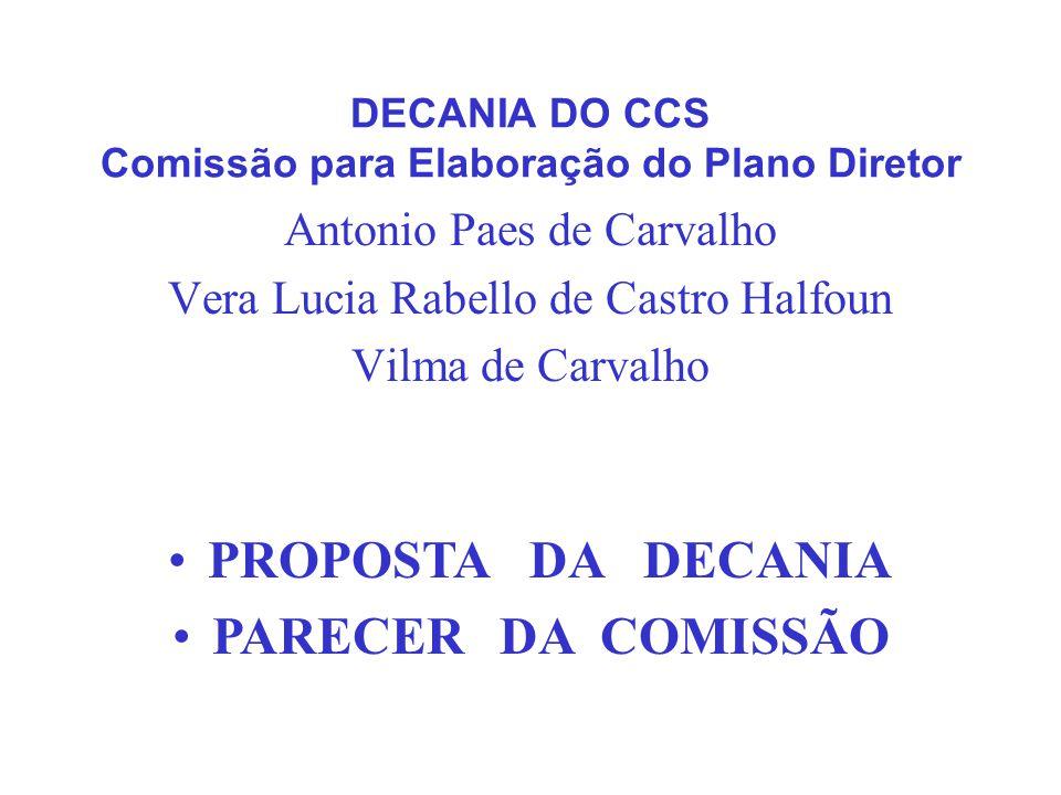 DECANIA DO CCS Comissão para Elaboração do Plano Diretor Antonio Paes de Carvalho Vera Lucia Rabello de Castro Halfoun Vilma de Carvalho PROPOSTA DA D
