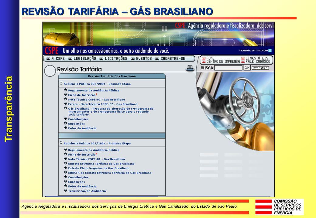 Agência Reguladora e Fiscalizadora dos Serviços de Energia Elétrica e Gás Canalizado do Estado de São Paulo Transparência REVISÃO TARIFÁRIA – GÁS BRAS