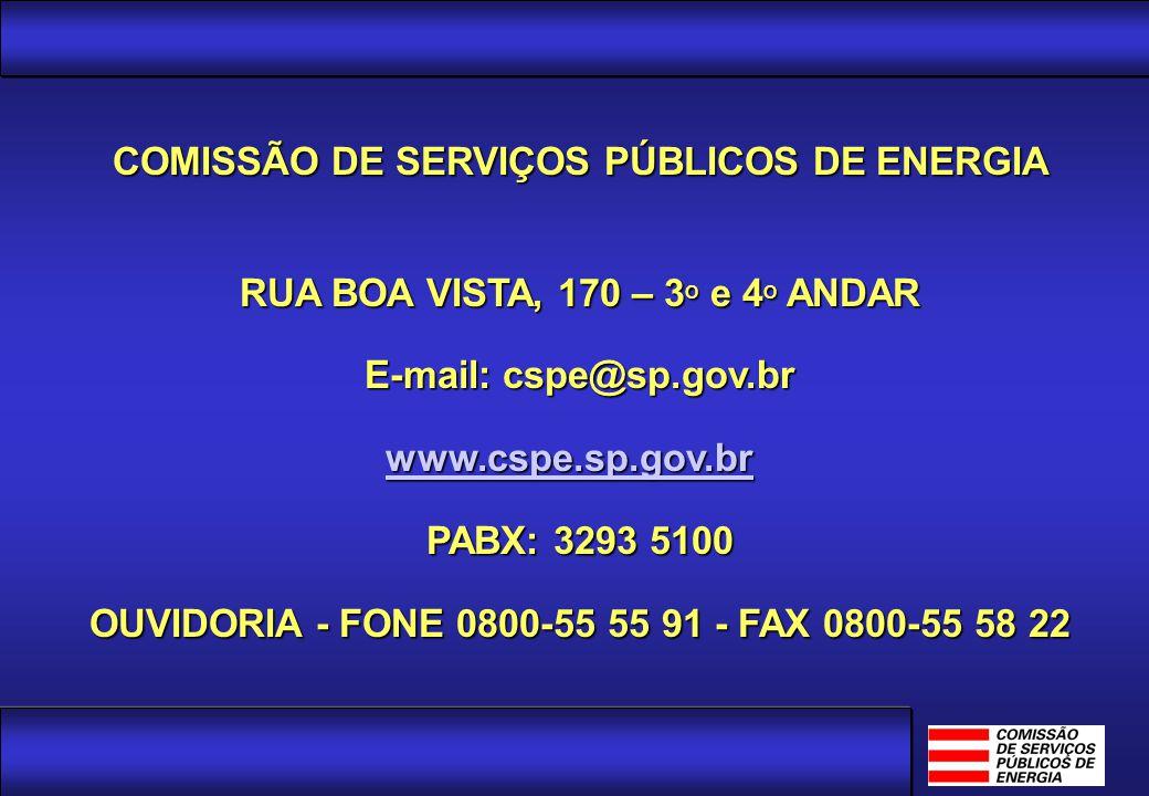 Agência Reguladora e Fiscalizadora dos Serviços de Energia Elétrica e Gás Canalizado do Estado de São Paulo COMISSÃO DE SERVIÇOS PÚBLICOS DE ENERGIA R