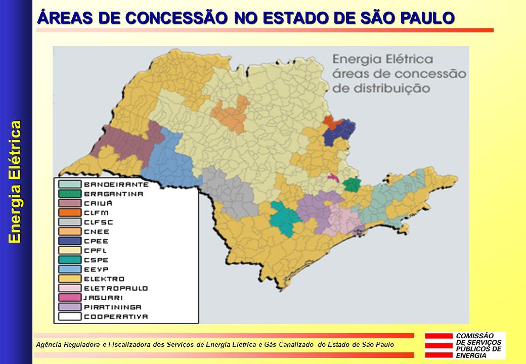 Agência Reguladora e Fiscalizadora dos Serviços de Energia Elétrica e Gás Canalizado do Estado de São Paulo ÁREAS DE CONCESSÃO NO ESTADO DE SÃO PAULO