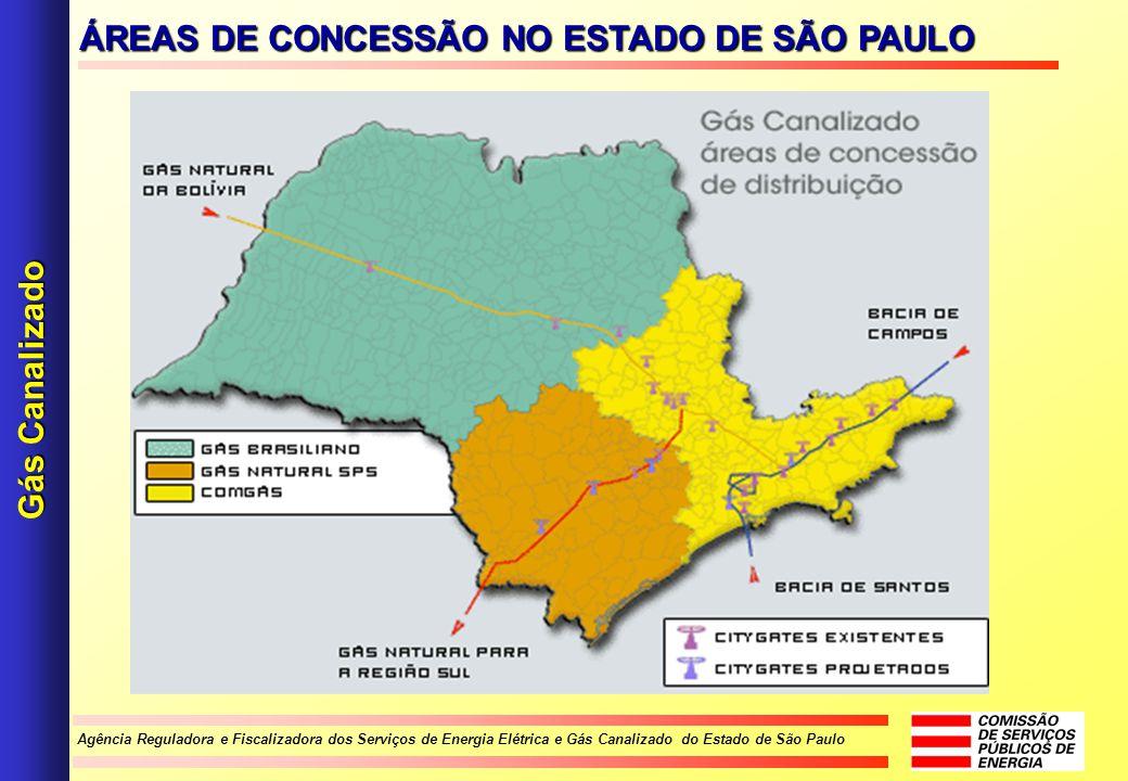 Agência Reguladora e Fiscalizadora dos Serviços de Energia Elétrica e Gás Canalizado do Estado de São Paulo Gás Canalizado ÁREAS DE CONCESSÃO NO ESTAD