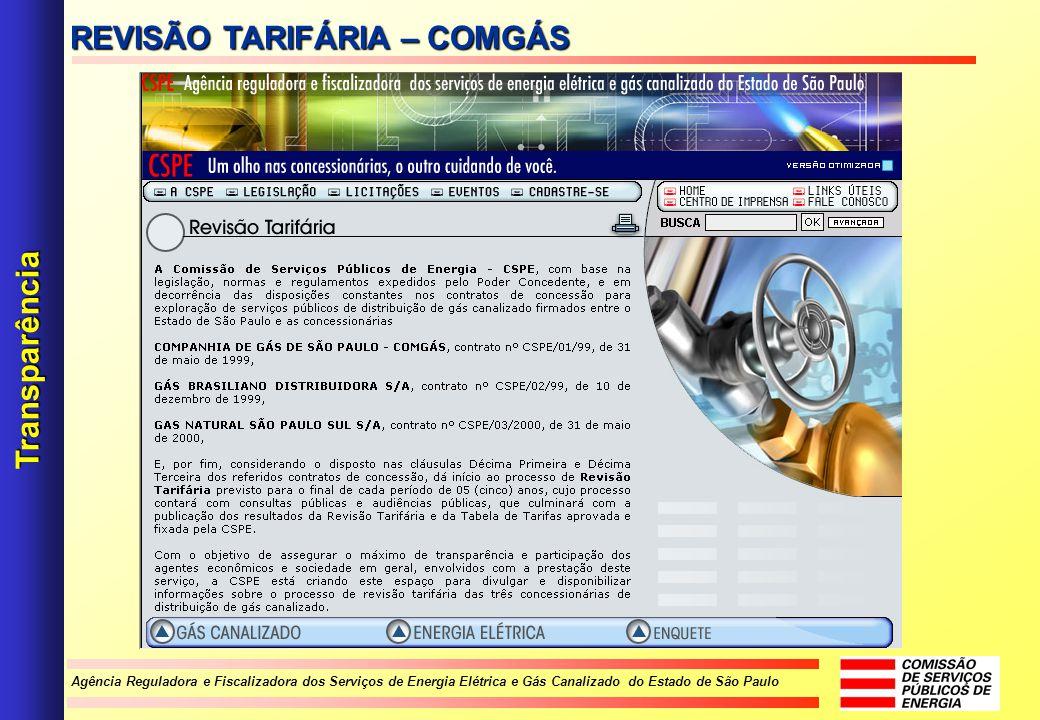 Agência Reguladora e Fiscalizadora dos Serviços de Energia Elétrica e Gás Canalizado do Estado de São Paulo Transparência REVISÃO TARIFÁRIA – COMGÁS
