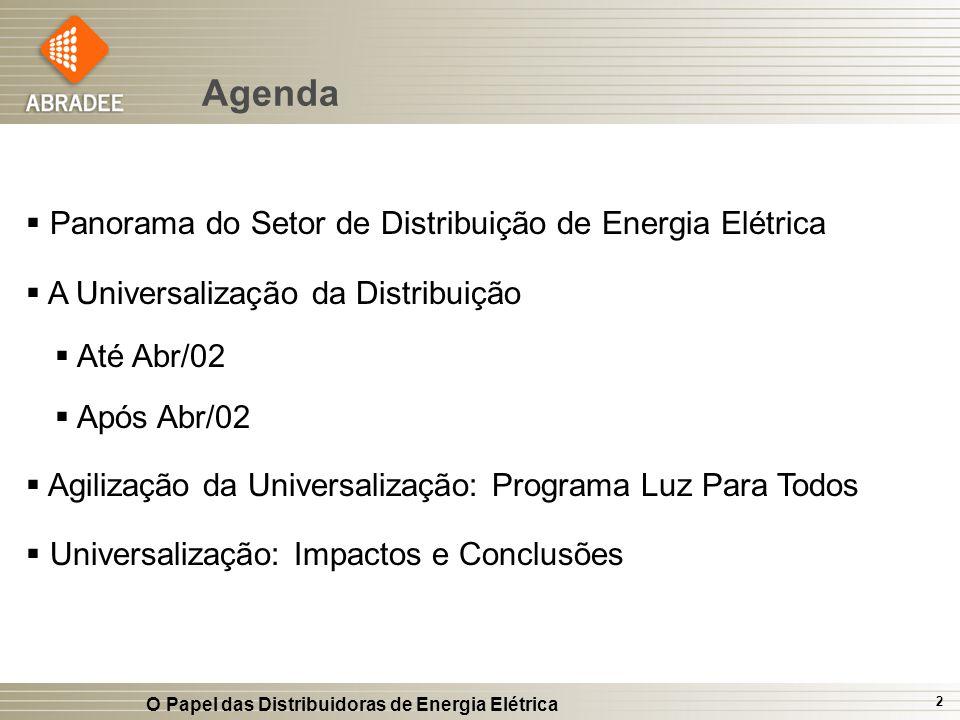O Papel das Distribuidoras de Energia Elétrica 2 Agenda Panorama do Setor de Distribuição de Energia Elétrica A Universalização da Distribuição Até Ab