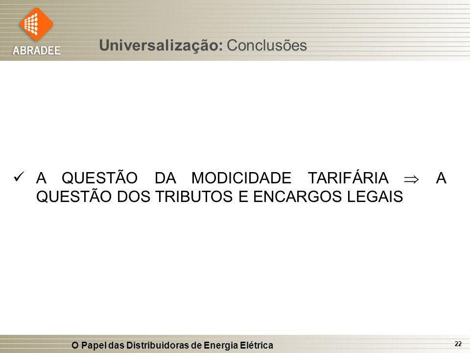 O Papel das Distribuidoras de Energia Elétrica 22 A QUESTÃO DA MODICIDADE TARIFÁRIA A QUESTÃO DOS TRIBUTOS E ENCARGOS LEGAIS Universalização: Conclusõ