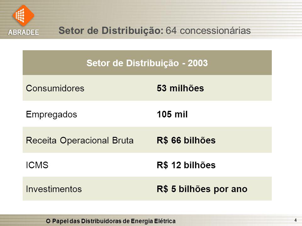 O Papel das Distribuidoras de Energia Elétrica 4 Setor de Distribuição: 64 concessionárias Setor de Distribuição - 2003 Consumidores53 milhões Emprega