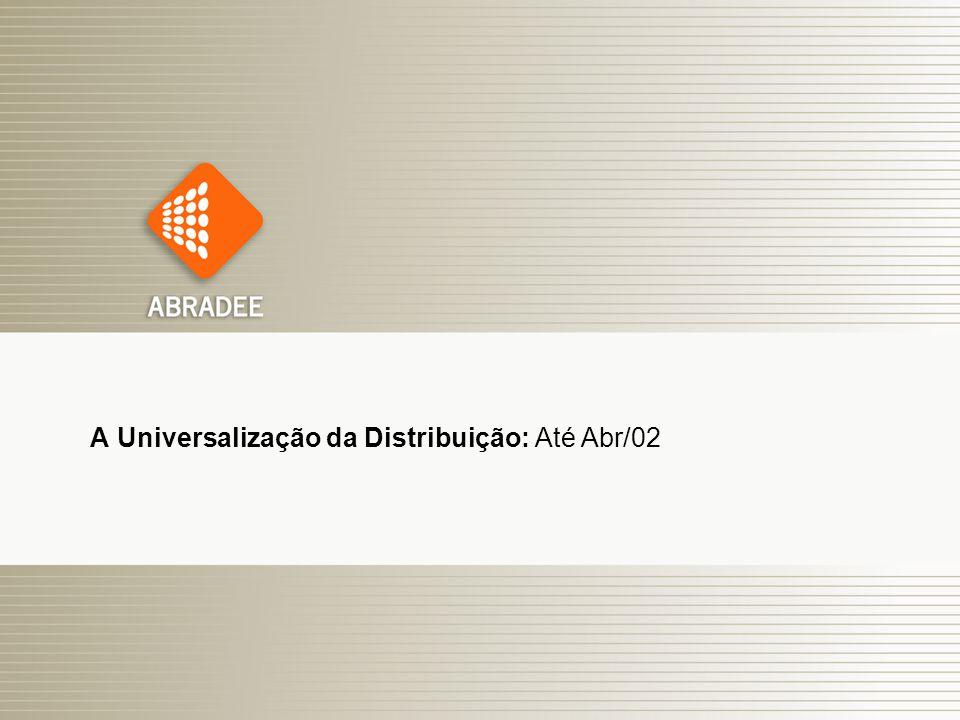 O Papel das Distribuidoras de Energia Elétrica 6 A Universalização da Distribuição: Até Abr/02